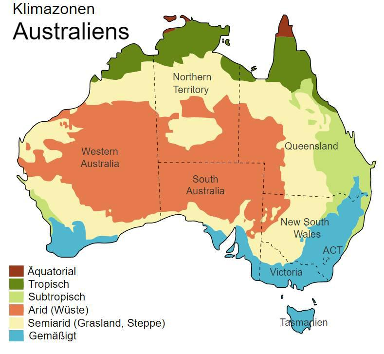 klima klimazonen australien